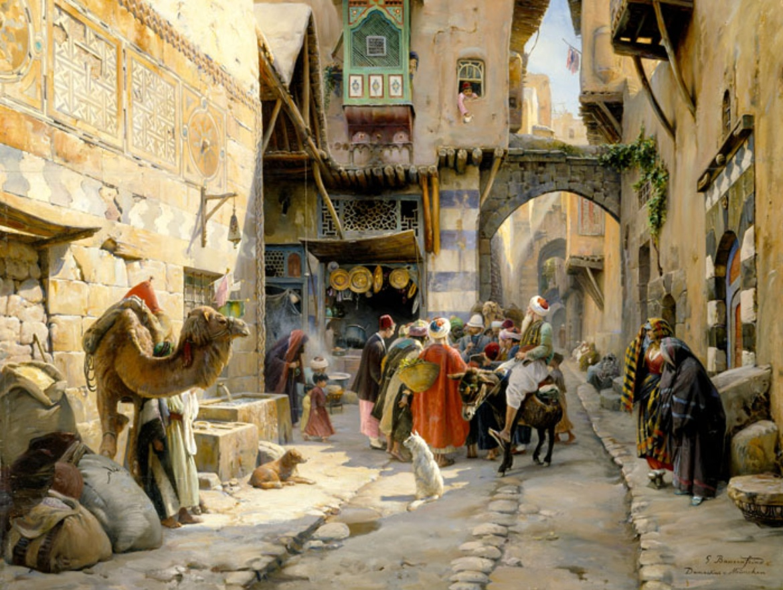 Ölbild: Straßenszene in Damaskus