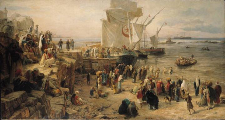 Bild: Einziehung der türkischen Landwehr in Palästina im Hafen von Jaffa (1888)