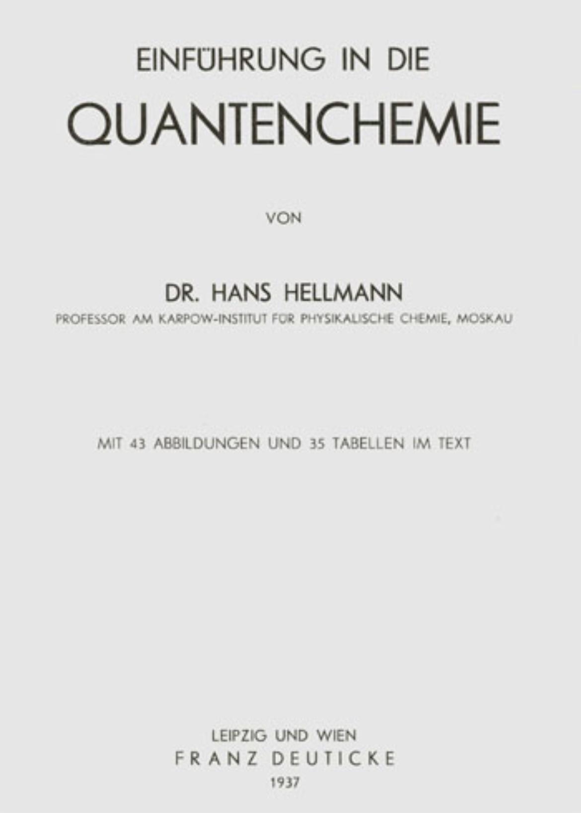 """Titelblatt von Hans Hellmanns Buch """"Einführung in Die Quantenchemie"""" von 1937."""