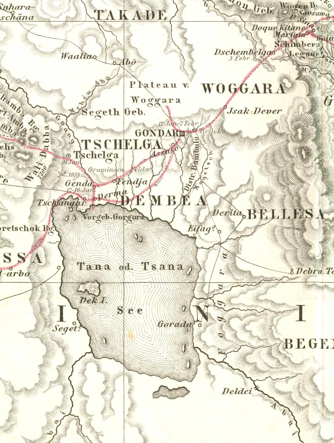 Karte Athiopiens aus dem Jahr 1857 von Theodor Heuglin. Der Ausschnitt zeigt die Gebiete um den Tanasee, die rote Linie die Route Heuglins 1852/53. (c)